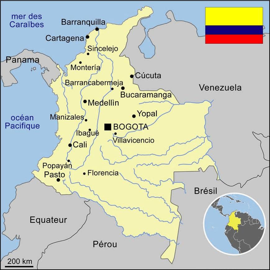 Carte touristique et géographique de la Colombie